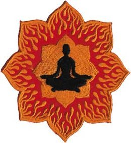 Zen Lotus - Orange And Red - Embroidered Iron On Or Sew On Patch