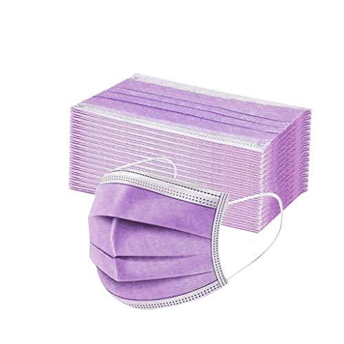 Sumeiwilly 50 Stück Einmal-Mundschutz, Staubs-chutz Atmungsaktive Drucken Mundbedeckung, Erwachsene, Bandana Face-Mouth Cover Halstuch Schlauchschal (Lila)