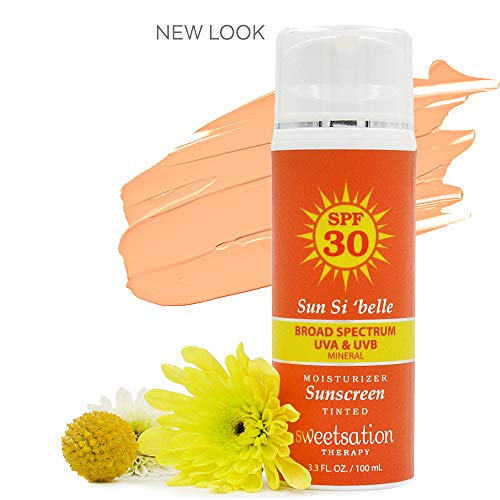 Sweetsation Therapy Sun Si'Belle Daily Mineral Tinted Moisturizer for Face Sunscreen SPF30, Broad Spectrum UVA+UVB, Neutral Tint, Natural with Hyaluronic acid, Vitamin C, Enzymes CoQ10, 3.3oz. Satin.