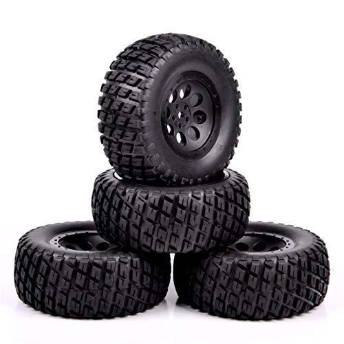 HDMJ Neumáticos 4pcs / Set RC Short Course de Camiones y Llantas con 12 mm Hex encajan 1:10 Escala del Carro del Coche Modelo Accesorios Juguetes Modelo de neumáticos de Rueda (Color : Black)