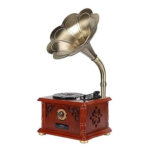 LMCLJJ Inheritance Vintage klassische Hauptdekoration Retro Antike Gramophone Plattenspi Drehscheibe-Vinylplattenspieler mit Horn Unterstützung Bluetooth-Funktion...