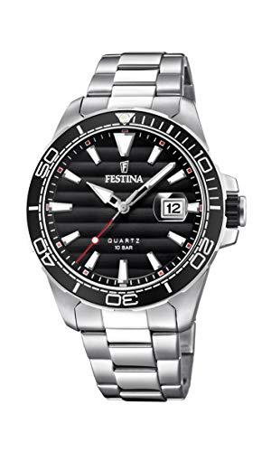 Festina Herren Analog Quarz Uhr mit Edelstahl Armband F20360/2