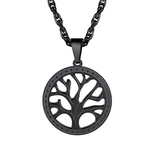 PROSTEEL Men Tree of Life Pendant Necklace Stainless Steel Religion Choker Jewelry Black