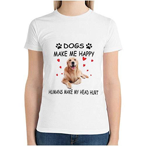 Frauen Baumwolle Hunde Machen Mich glücklich T-Shirts schlank - Humor Sarkasmus Kurzarmhemd White XL