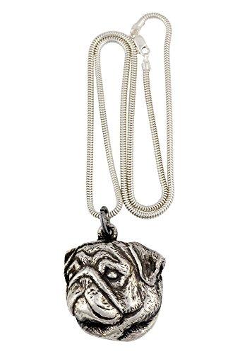 Mops, Hund Halskette, Silberne Kette 925, Limitierte Auflage, ArtDog