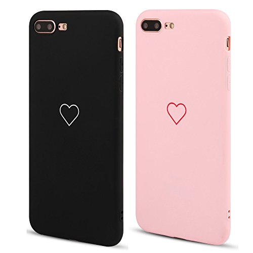 2 Pack for iPhone 7 Plus Case iPhone 8 Plus Case LAPOPNUT Fashion Cute Love-Heart Shape Matte Case Anti-Scratch Soft TPU Cover Back Bumper for Apple iPhone 7 Plus/iPhone 8 Plus,Pink&Black