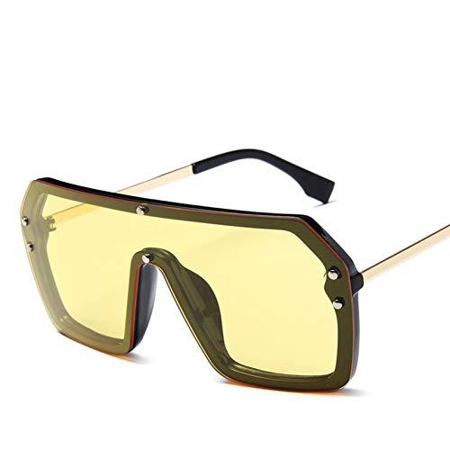 TYOLOMZ Gafas De Sol con Personalidad para Hombres Y Mujeres, Gafas De Sol Cuadradas De Gran Tamaño Siameses, Montura Metálica para Conducción Al Aire Libre, Gafas De Una Pieza
