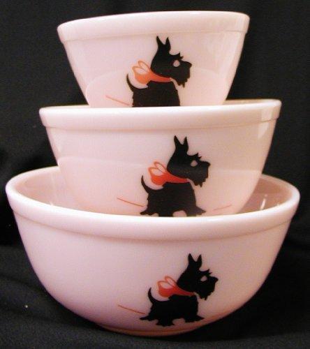 Pink Milk Glass Mixing Nest Bowls W/crimson Bow Scottie Dogs – Set of three