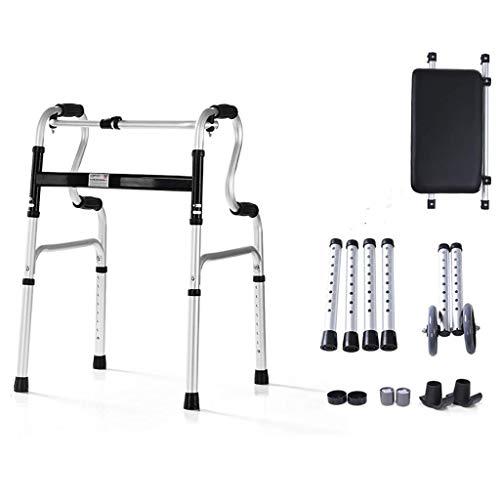 ZXL Wandelhulp, opvouwbaar, van aluminium, 2-in-1 looprol met zitting en wielen van polyurethaan, voor ouderen.