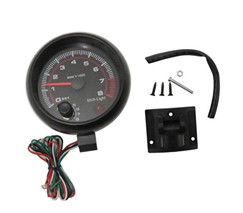 MOTOR METER RACING W Pro Tachometer 8000 RPM Programmable Waterproof Black Dial White LED