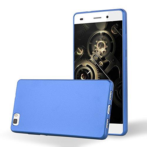 Cadorabo Funda para Huawei P8 Lite 2015 en Metallic Azul - Cubierta Proteccíon de Silicona TPU Delgada e Flexible con Antichoque - Gel Case Cover Carcasa Ligera