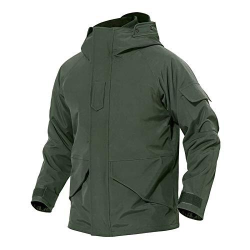 Nvshiyk Chaquetas Ligeras Softshell para Hombre Chaqueta Militar a Prueba de Agua Chaqueta de fanático Militar Abrigo de Goma Abrigo Transpirable al Aire Libre (Color : Verde, Size : 3XL)