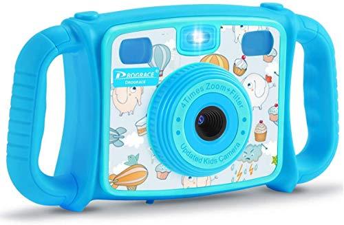 FXDCQC Kinder Kamera Kid Cam Mini Digital Camera Camcorder mit USB Kabel, 5 Megapixel/1080P, 2.0 Zoll Display, Front-Heck-Doppellinse, Eingebautem WiFi, unterstützt 32G SD Karte und Multi-S