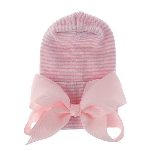 Minkissy Baby-Wintermütze, warme Strickmütze, Häkelmütze, Baumwollfutter, Kleinkindmütze, Schleife, Mädchen, Beanie für Neugeborene (weiße Schleife), E5441819N7SH6BQ, Pink, E5441819N7SH6BQ