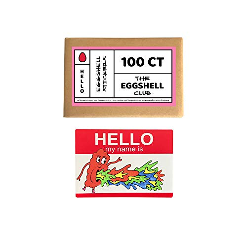 The Eggshell Club   Aufkleber Rohlinge   50 Stück Red Hello My Name Is
