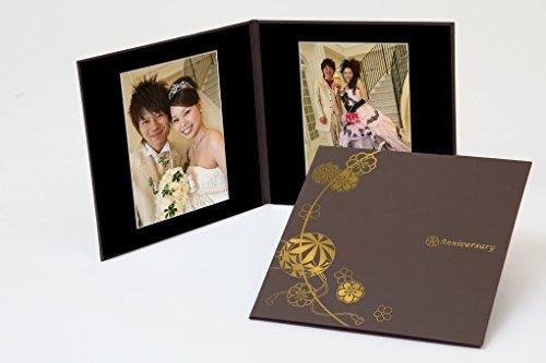 クラウンハート 2面 6切 2枚 まり柄 茶 「Anniversary」 ゴールド箔 中枠黒色 写真台紙 2面アルバム 七五三 結婚式 成人式 ベビー 六つ切り 6切 2面台紙