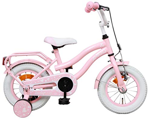 Amigo Lovely - Bicicleta Infantil de 12 Pulgadas - para niñas de 3 a 4 años - con V-Brake, Freno de Retroceso, Cesta, Timbre y ruedines - Rosa