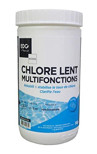 Chlore Piscine Multifonctions - Pastilles 20G - Dosage Facile - Spécial Piscine Hors Sol - Pot 1 KG - Multiactions - Gamme Traitement Et Accessoires Piscine EDG Access