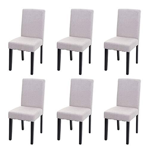 Mendler 6X Esszimmerstuhl Stuhl Küchenstuhl Littau - Textil, Creme-beige, dunkle Beine
