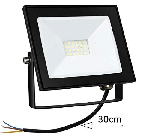 Proyector LED de 20W Floodlight 1600LM Focos LED Exterior para exteriores para patio Impermeable IP65 6500K Blanco frío, patio, garaje, proyector de taller [Clase Energética A+]