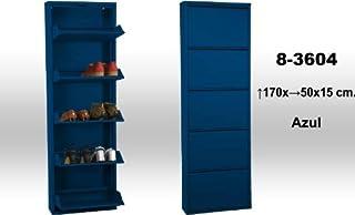 DRW Mueble Zapatero de Metal de 5 cajones, Azul, 170 cm de Alto x 50 x 15 cm