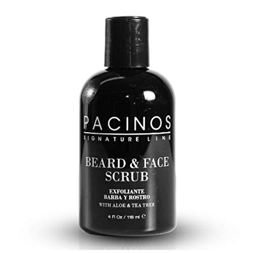 Pacinos Shave System, Beard and Face Scrub, Men's Skin Care, Best Organic Natural Shampoo, Aloe Vera and Tea Tree Extract, Removes Impurities, 4 oz