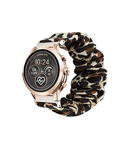 Seltureone Compatible for TicWatch C2,18mm Scrunchie Band,Replacement Wristband Pattern Band for Michael Kors Access Sofie/Michael Kors Access Runway/Fossil Sport 41mm/Withings Move—Leopard Print
