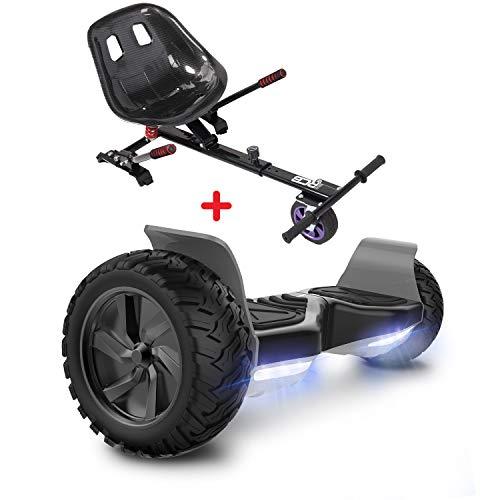 GeekMe Hoverboards mit Sitz,Off Road Hoverboards mit Off Road Hoverkart,8,5 Zoll Hoverboards mit Bluetooth Lautsprecher,LED Leuchtenr,Geschenk für Kinder und Erwachsene