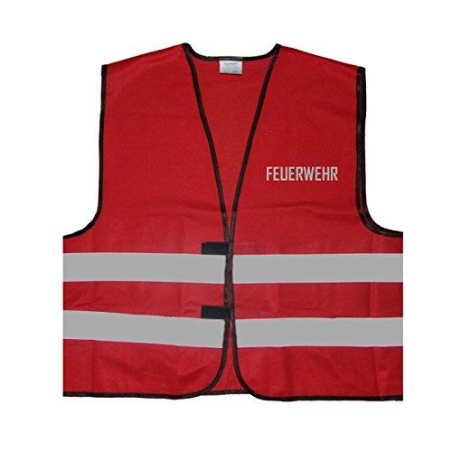 Reflex Signalweste - Feuerwehr - Warnweste mit reflektierendem Aufdruck - Einheitsgröße bis XXL, Rot