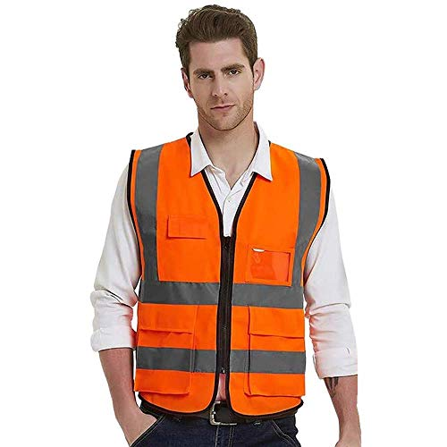 Reflective Orange Safety Vest with 5 Pockets High Visibility Vest for Men Women Child Walking Surveyor ANSI Class 2