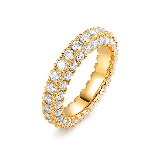 Barzel 18k Yellow Gold Plated Cubic Zirconia Eternity Wedding Band Ring Jewelry (Gold, 7)