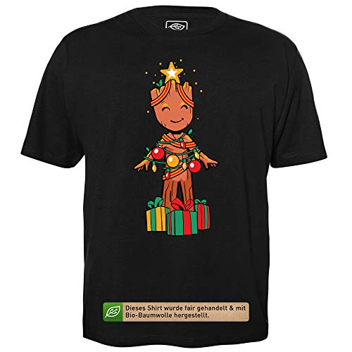 Groot Christmas Tree - Men's T-Shirt for Geeks with Slogan Motif Made of Organic Cotton Short Sleeve Round Neckline, S Black