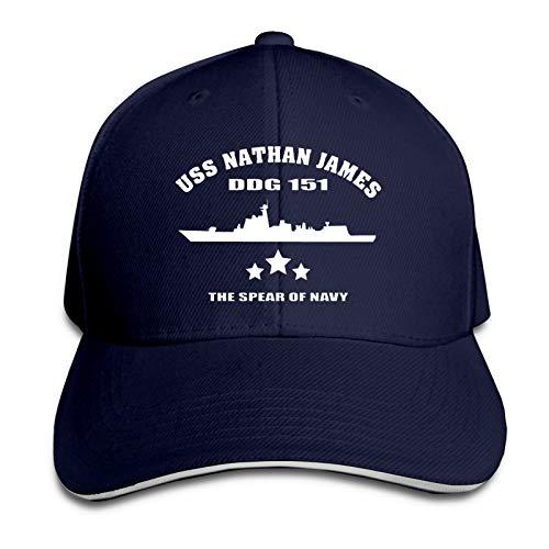 USS Nathan James Unisex Old Wash Old Baseball Cap Metal Adjustable Cap,Cowboy Hat Baseball Cap Navy