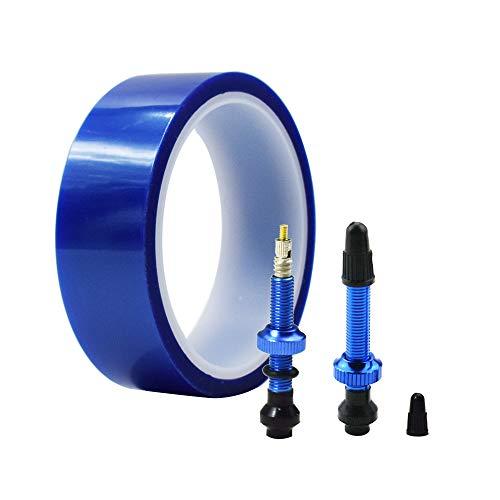 DRIFT MANIAC Kit de válvula Presta 700C sin cámara para llantas, color azul, ancho 22/25/30 mm, longitud 33 m