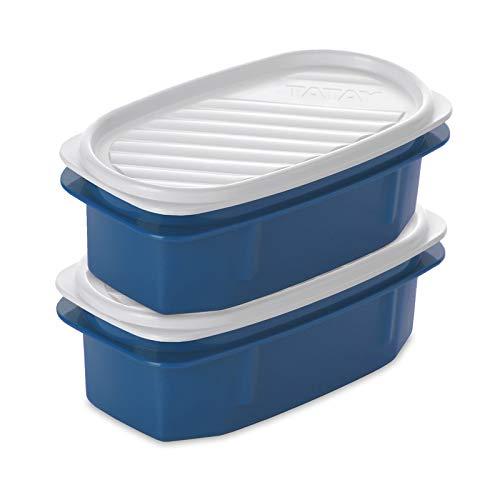 TATAY Urban Food Casual - Recambios 2 Contenedores Ovalados con Cierre a Presión de 0.5L Color Azul