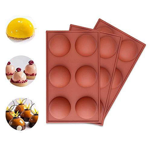 Wondsea 3 Pack 6 Trous Grand Dôme Hémisphère Moule en Silicone, Moule à Gâteau en Silicone Moule à Pudding en Gelée de Bonbons Moule à Chocolat Plateaux Moule à Fondant en Silicone Antiadhésif