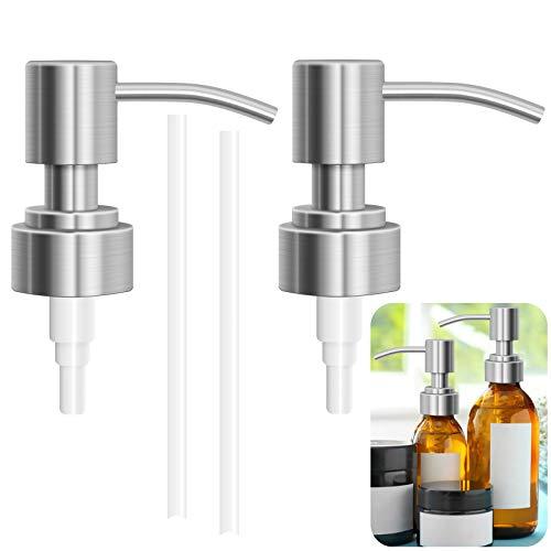 JJYHEHOT Seifenspender Pumpe, Hochwertiger Edelstahl 304, Für 28 Mm Schraubenflaschen, Ersatzpumpe Für Shampoo Handseife Flaschen (2 Stück)
