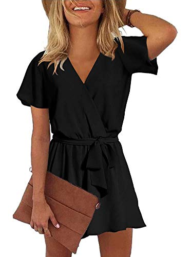 REORIA Womens Casual Summer One Piece Ruffles Short Sleeve V Neck Tie Front Belted Wrap Playsuits Short Jumpsuit Beach Rompers Black Small