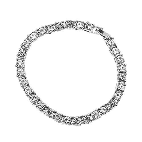 Holibanna Rhinestone Bracelet Classic Tennis Bracelet Couple Bracelet Shiny Bangle Jewelry Hip Hop Wrist Decor