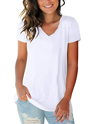 Womens Casual Tops Solid Color V Neck Short Sleeve Basic Tee Shirts