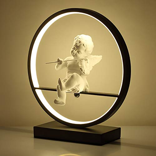 Lámpara de escritorio con forma de ángel, lámpara de mesa de dormitorio o mesita de noche LED, moderna lámpara decorativa de pareja, romántica lámpara de escritorio con mando a distancia