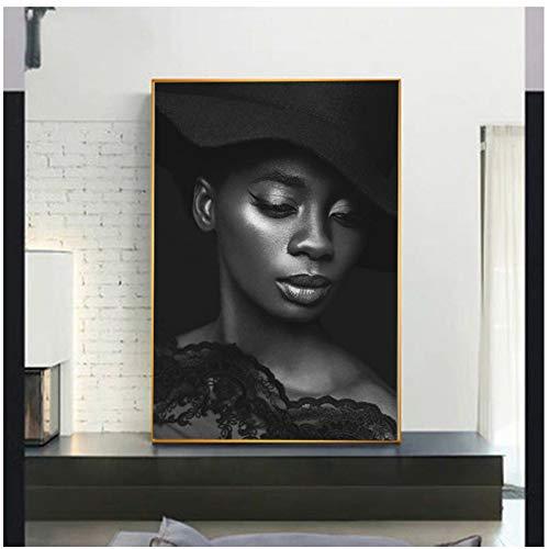 NIESHUIJING Druck auf Leinwand Porträt Leinwand Malerei Schwarz Weiß Drucke Glamour Frau Mit Hut Wandkunst Bilder Für Wohnzimmer Galerie Home 23,6