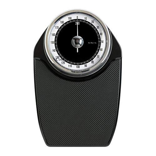 Lcxliga Básculas de baño con dial analógico, Plataforma de pesaje Antideslizante sin batería, Capacidad de 200 kg / 330 LB, Negro, for Hospital, báscula de Piso for el Cuidado del hogar