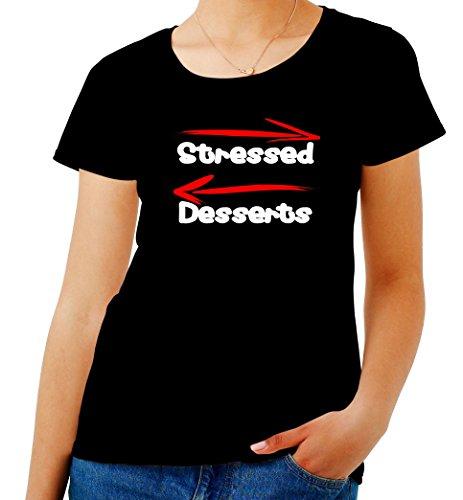 T-Shirt para Las Mujeres Negro T0560 Stressed Desserts Fun Cool Geek