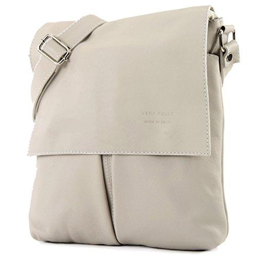 modamoda de ital. Borsa a tracolla Messenger signore borsa grande in pelle T75, Colore:crema