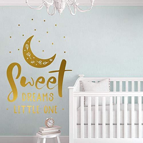 Sanzangtang Muurstickers Moon in goud woorden Klein TraumKunst Baby Kinderdagverblijf Wanddecoratie Muurtattoo logo schattige droom