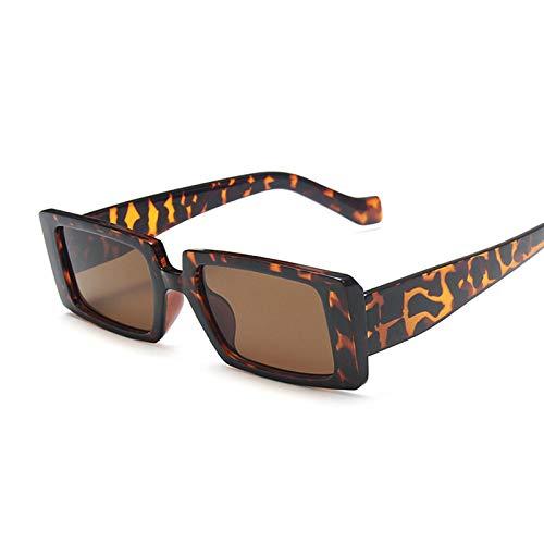NJJX Gafas De Sol Cuadradas De Moda Para Mujer, Gafas De Sol Rectangulares Retro Vintage Para Mujer, Espejo Negro Pequeño, Leopardo