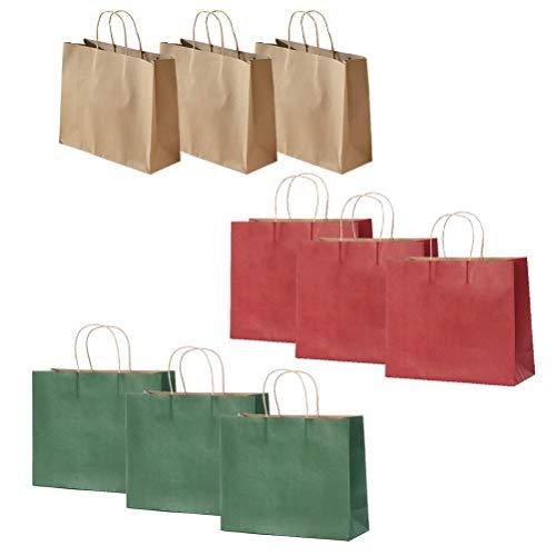 Amosfun 9 Stücke Kraftpapier Tasche Weihnachtsboxen Festliche Geschenk Favor Tote Taschen Schokoladenhalter Container für Zuhause Shop (Buff Dunkelgrün und Claret)