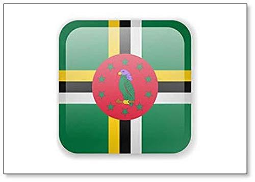 Kühlschrankmagnet, Motiv Dominica-Flagge, quadratisch