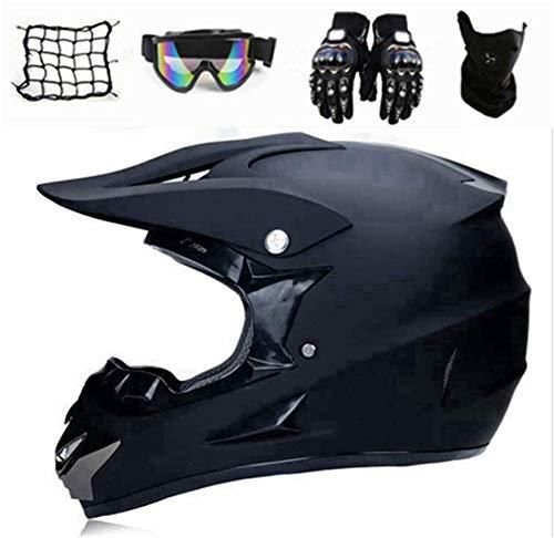 SYANO Motocross Helm Matte Schwarz,Motocross Motorradhelm Downhill Fullface Helm,Jugend Kinder Offroad Helm Mit Handschuhe, Schutzbrille, Motorrad netz,Schutzmaske (M)